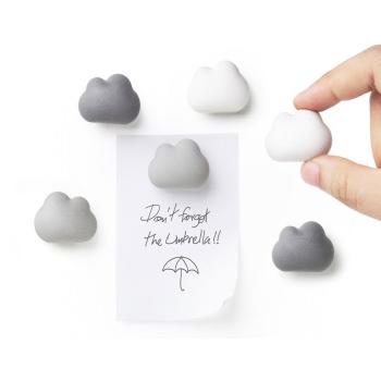 Hvite og grå magnet skyer 6-pakk fra Qualy