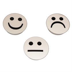 Hvite smiley magneter 3-pakk