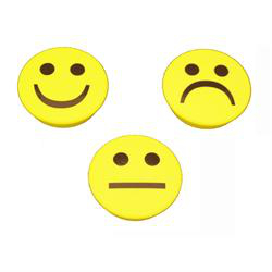 3-pakk gule smiley magneter